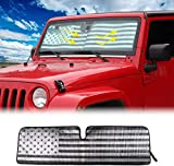 ausuky Sonnenblende für Windschutzscheibe, faltbares Visier, UV-Block für Jeep Wrangler TJ JK JKU 97-2017 2/4-Türer