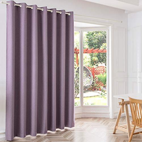 JINLEETOWN 100% Blackout Violet Linen Curtains for Patio Sliding Door, 100 Inches Extra Wide Room Divider Window Curtain Panel for Bedroom (Grommet Top, 100W x 84L inch, Violet)
