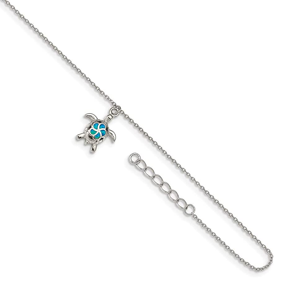 Mia Diamonds Solid 925 Sterling Silver Rhodium-Plated Created Blue Opal Turtle with 1in ext. Anklet