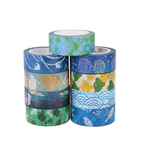 Aulola, collezione di washi tape, nastro adesivo decorativo giapponese, per decorazioni fai da te su riviste, scrapbook, agende e telefoni, confezione da 9 Style 2 (Pack of 9)