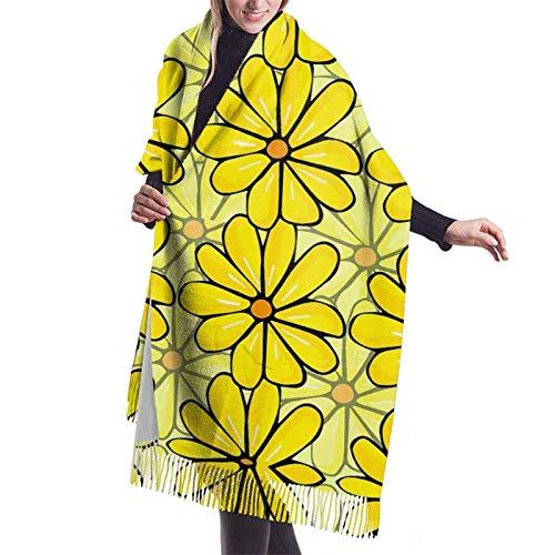Bufanda larga cálida suave Otoño Invierno Primavera Abrigo Flores amarillas Chales ligeros y amigables con la piel Bufandas de cachemira adolescentes y adultos