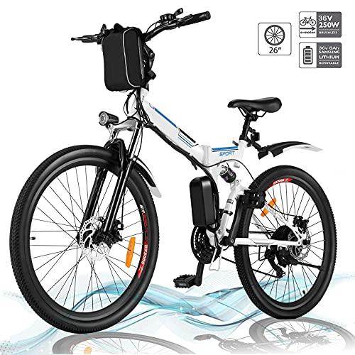 Faltbares E-Bike,36V 250W Elektrofahrräder, 8A Lithium Batterie Mountainbike,26 Zoll Große Kapazität Pedelec mit Lithium-Akku und Ladegerät