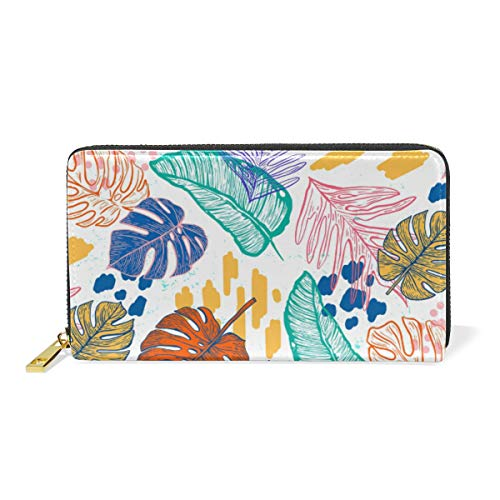 Kunstpalme Wollmispelblätter Damen Geldbörse Brieftasche Große Echtes Leder Geldbeutel Kartensteckplätze Organizerfür Frauen Mädchen