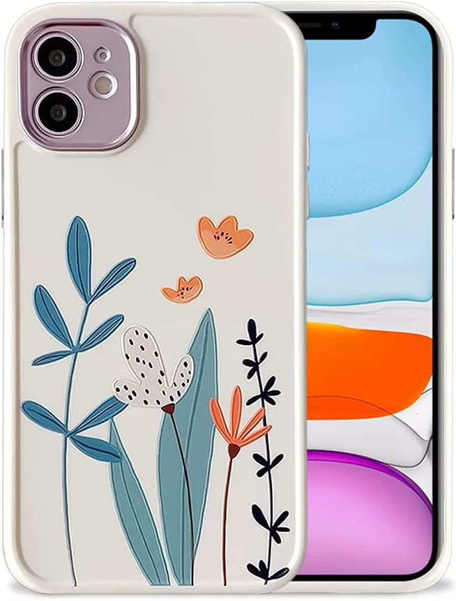 Ownest Compatible with iPhone 11 Case for Flowers Pattern Frosted Floral Girls Woman and Silicone Bumper Protective Slim Shockproof Case for iPhone 11- Flowers