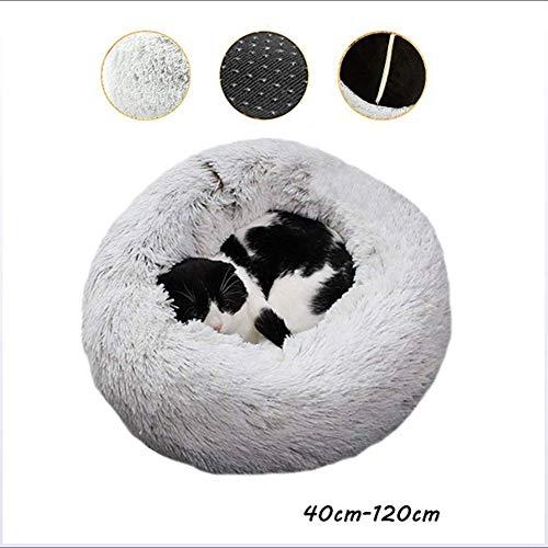 YLCJ kattenbed in de vorm van een mollen, gemakkelijk te reinigen, machinewasbaar en antislip, zacht en comfortabel pluche, ideaal voor het slapen in de winter, rond, 80 cm, 70cm