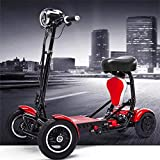 Silla de ruedas eléctrica Conveniente plegado eléctrico scooter de 4 ruedas ancianos discapacitados exterior motorizada 4 scooter de rueda 3 de velocidad 40 kilometros de control 36v15A litio vida de