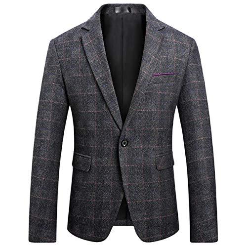 Mens Slim Fit Blazer Jacket Two-Button Notched Lapel Casual Suit Jacket (XXX-Large, Black)