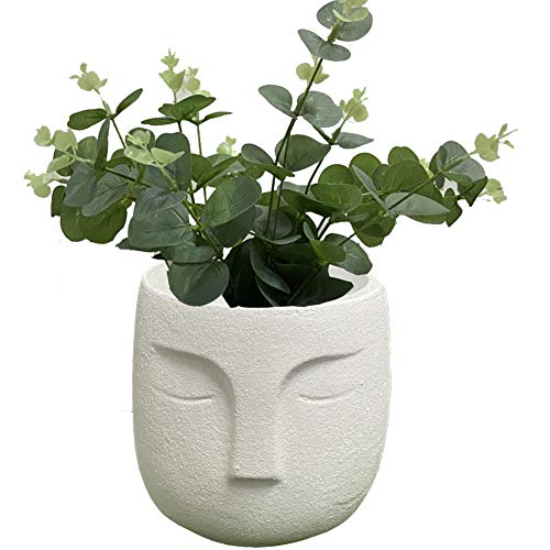 4.9 Inches Cement Planter Flower Buddha Pot - Indoor Plants Containers Unglazed Medium Bonsai with Drain Hole - The Buddha Design (White)