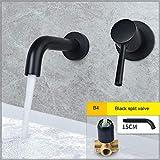 Faucet Latón Split Matt Black B4 Montado en la pared Moda Monomando Baño Grifo de lavabo
