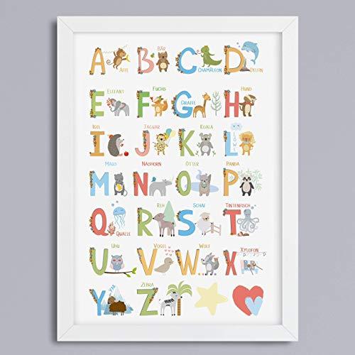 ABC-Tier Alphabet Kunstdruck Geschenk zur Einschulung oder Kindergarten Geschenkidee optional mit Rahmen