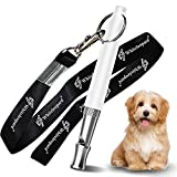 Dog Whistle with Free Lanyard, Adjustable Frequencies Ultrasonic Stainless Steel, Effective Way of Training, Professional Dog Whistles to Stop Barking (White)