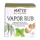 Maty's All Natural Vapor Rub - Petroleum Free - Made with Peppermint, Tea Tree & Eucalyptus, 1.5 oz.