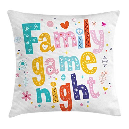 ABAKUHAUS Bordspel Sierkussensloop, Kleurrijke Family Game, Decoratieve Vierkante Hoes voor Accent Kussen, 45 cm x 45 cm, Veelkleurig