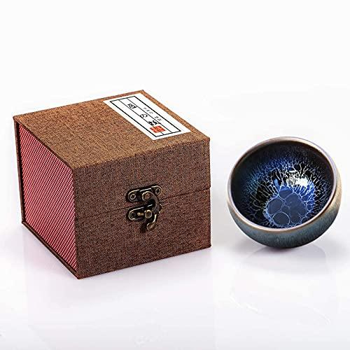 ceramics raw materials Chinese Tea Cup, Japanese Tea Cups, Coffee Cup, Tea Cup, Handmade Azure Blue Dragon Scales Tea Cup Gift (Blue Lotus,100ml 3.5oz)