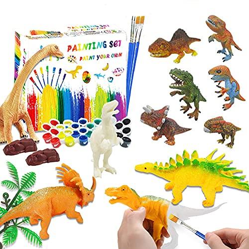 Dinosaurios para Pintar, Goorder 47 Piezas Kit Pintura, Figuras para Pintar Niños, Dinosaurios Juguetes, Juego Manualidades, Cumpleaños Navidad Regalo para Niño Niña 4 5 6 7 8 9 años