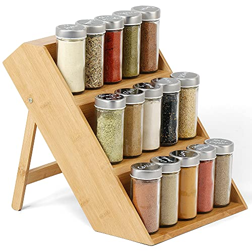 Bamboo Spice Rack Organizer - 3 Tier - Spice Shelf For Countertop Organizer for Kitchen Spice Holder Bamboo ECO Friendly Easy To Clean Multi function Racktower Cabinet Organizer Countertop Stand Holder