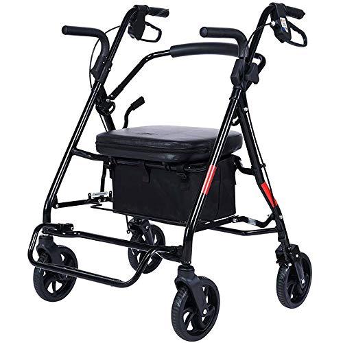 JQXB Rollator, Leichtgewichtrollator, faltbar, Griffhöhe Einstellbar, mit feststellbaren Kabelbremsen, Sitzgelegenheit mit Rückenlehne und Korb