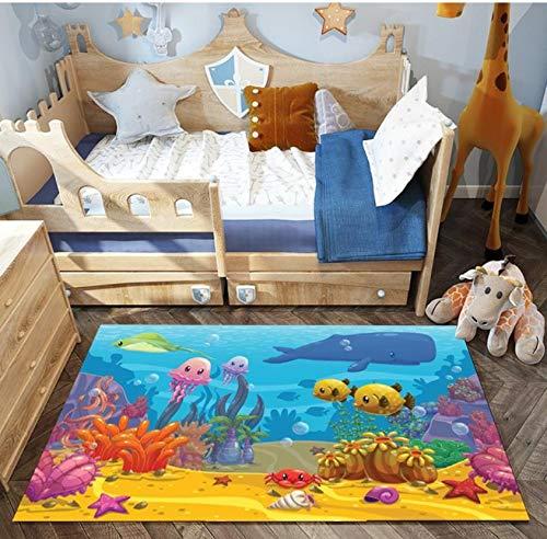 Kinder Teppich Komfort Polyester Cartoon Unterwasserwelt Animal Print Baby Game Blanket 120cmx170cm