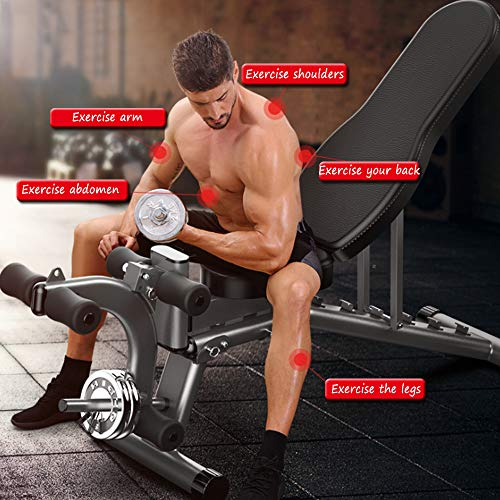 Adjustable Weight Bench Press,Leg Extension Flat/Incline/Decline Utility Bench Press 12 Ways to Exercise for Home Gym Easy to Assemble,Men Women Kids(Maximum Load:300lb)