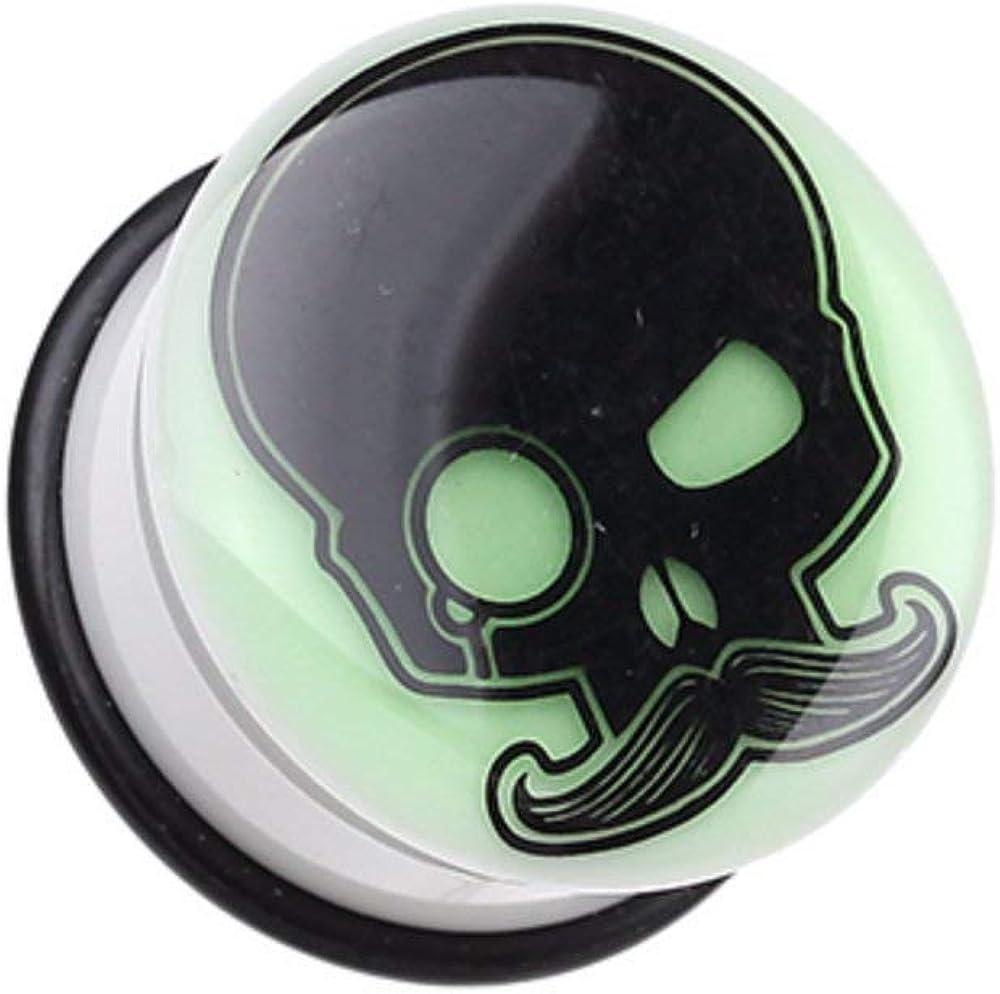 Covet Jewelry Glow in The Dark Skull Mustache Single Flared Ear Gauge Plug