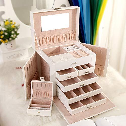 MMD Schmuck-Box tragbarer Mode Multifunktions Vanity Fall-Koffer Schmuck Lagerung Schmuck-Box-Mädchen-Geschenke (Color : Black)
