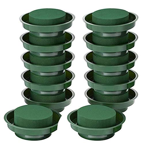 12 Pcs DIY Floral Foam | Flower Arrangement Kit 6-Pack Round Floral Foam in Single Design Bowl for Table Centerpiece Wedding Aisle Flowers Green Round Wet Floral Foam Block, 4.7 x 1.5 inch
