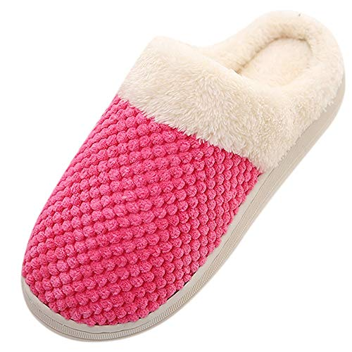 Goldweather Women Men Comfy Slip On Memory Foam Slippers Winter Warm Plush Soft Anti-Slip House Shoes (US:8-8.5, Watermelon Red)