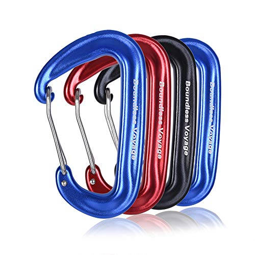 Boundless Voyage Pack 12KN Clip Mousqueton en Alliage D'aluminium Mousqueton Heavy Duty Verrouillage Type D Clips pour Camping en Plein Air Escalade Randonnée Sac À Dos 4PCS Mix Color