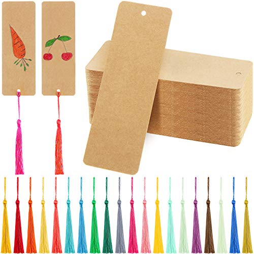 150 Pieces Kraft Paper Blank Bookmarks Gift Tags and 150 Pieces Handmade Tassels Pendant for DIY Craft Bookmark Key Chain Earring Jewelry Making (Kraft)