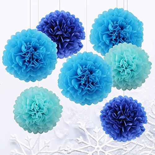 VENDITE FLASH  Set di 7 da 25cm e 35cm Pom Poms di carta velina, appesi pon pon fiore blu di carta per la festa di Natale e matrimonio per festa bambina nuziale e vivaio decorazioni per la casa – blu / blu scuro/ azzurro