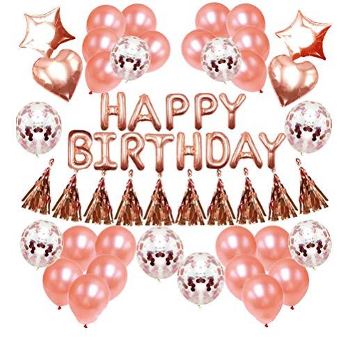 Amosfun Verjaardag Party Decoratie Set Aluminium folie Ballonnen voor Mevrouw Lady Meisje Vrouwen Verjaardag Feestkamer Decoren