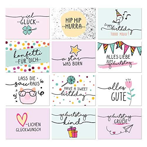 24er Geburtstags-Postkarten-Set I dv_330 I im Format DIN A6 I Süßer Mix von Typographie Spruch-Karten I als Geburtstagsgruß für Mädchen