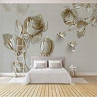 3D壁紙現代アートエンボスゴールドローズ花写真壁壁画リビングルームテレビソファ背景壁紙3Dフレスコ画, 350cm×245cm