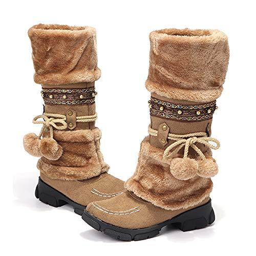 Camfosy Womens Winter Lange Laars, Dames Knie Hoge Laarzen Faux Bont Gevoerd Warm Sneeuw Enkel Schoenen Slip op Platte Paard Rijlaarzen met Antislip, Bruin Zwart Beige Paars