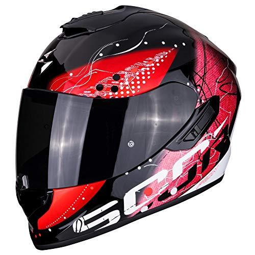 Scorpion - Casco integral EXO-1400 classy negro y rojo de fibra de vidrio para motocicleta/ciclomotor con visor interior SpeedView solar retráctil, protección de la calota exterior de TCT M
