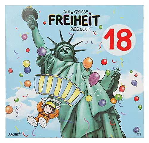 Depesche 3865.001 Glückwunschkarte mit Musik und Motiv von Archie, 18. Geburtstag, Mehrfarbig
