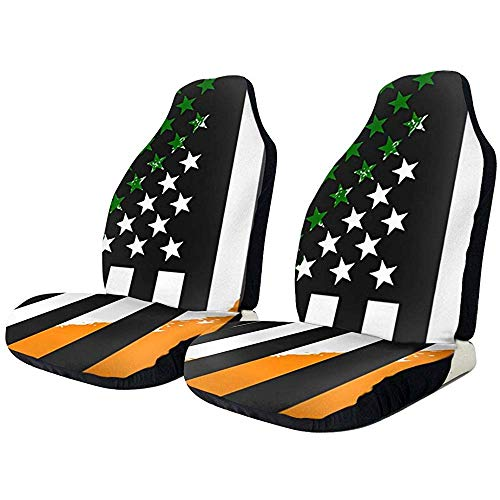 Beth-D autostoelhoezen, groen, wit, oranje, zwart Vlag De Usa Alle beschermende voorstoelhoezen Universal Fit Full Set 2-delig