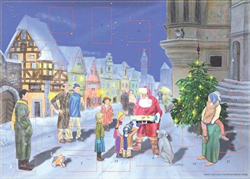 Calendario de Adviento Grande 24 puertas 355 x 260 mm - Papá Noel en la nieve - con purpurina y ventanas translúcidas - RS 70115 - Diseño tradicional alemán antiguo