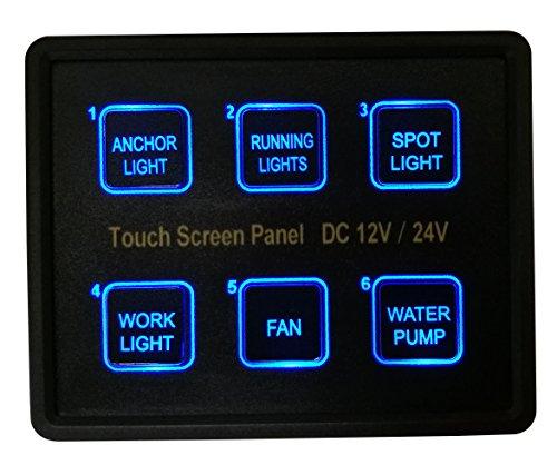 BANDC 12V / 24V 6 Gang Blaue LED Kapazitive Sense Touch Control Panel Box für Auto Marine Boat Caravan