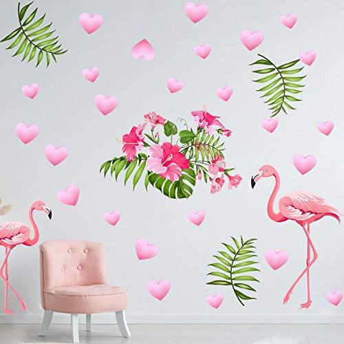 Sayala 2 Stück Flamingo Wandtattoo Kinderzimmer/Hawaiian Flamingo mit Flower Wandsticker Kinderzimmer/Aloha Mädchenwandtattoo Wall Tattoo Kinderzimmer Schlafzimmer