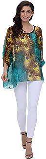 Fankle Women's Tops Chiffon Blouse Boho Floral Batwing Sleeve Beach Loose Tunic Shirt