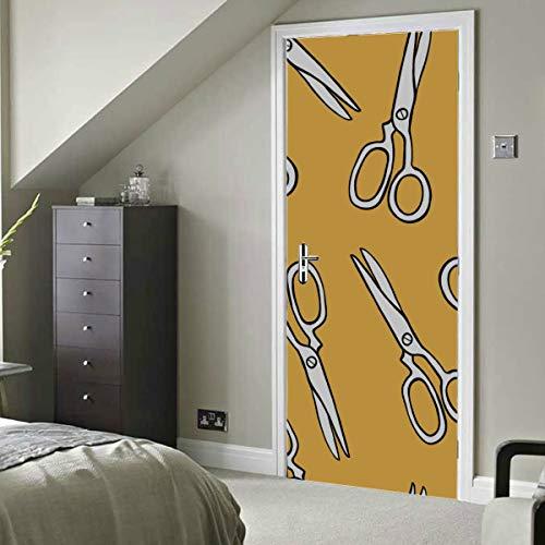 Tijeras de peluquería retro de dibujos animados Vinilo autoadhesivo Etiqueta de papel tapiz extraíble para hombres para puerta 30x79 pulgadas (77x200 cm) 2 piezas