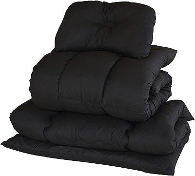 [山善] 布団セット 4点 シングル 抗菌消臭 きめ細やか ピーチスキン加工 (掛け布団 敷き布団 枕 収納ケース) ブラック YEF-4XSP1(BK)