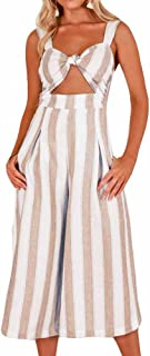 4076b1cd1c14 Women Romper Playsuit Striped Sleeveless Waist Bow Backless Long Wide Leg  Loose Halter Jumpsuit with Pocket