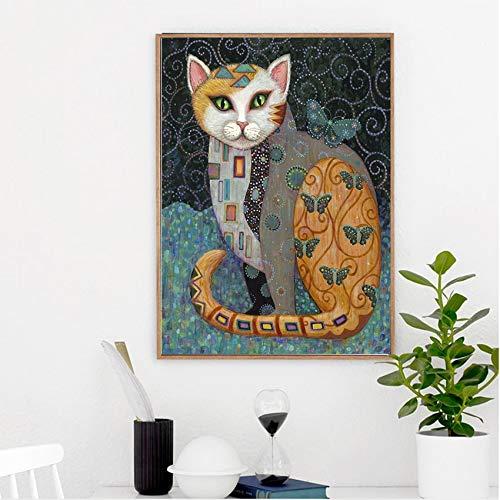 Geiqianjiumai dierposter van het moderne olieverfschilderij van de Animekat abstract en bedrukt zonder lijstwerk van de interieur-woonkamer