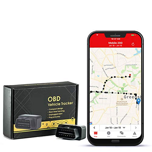 GPS Tracker with no Monthly fee, Realtime OBD GPS Tracker with 1 Year of Service Included - Low Profile Tracker