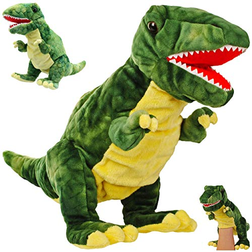 alles-meine.de GmbH große Handpuppe - Dinosaurier - Tyrannosaurus Rex - Handspielpuppe - 33 cm groß ! - Mund beweglich & bespielbar - für Kinder & Erwachsene - Plüschtier - Dinos..