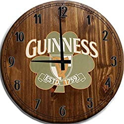 TBA Large Wall Clock Guinness Irish Beer Bar Sign Home Décor Classic Walnut 18 inch Wall Decor
