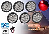 """6 Red 4"""" Round LED Brake/Stop/Turn/Tail Light Kit with Grommet Plug Clear Lens"""
