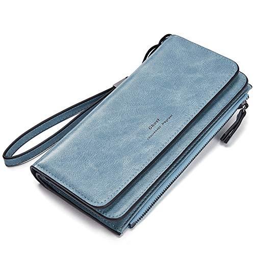 CLUCI Geldbörse Damen Ölwachs Leder Lang Clutch Portemonnaie Frauen viele Kartenfächer Geldbeutel Blau
